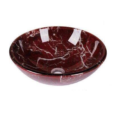 Marble Tempered Glass Circular Vessel Bathroom Sink Sink Finish: Burgundry