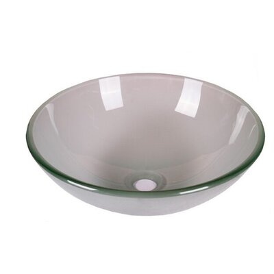 Tempered Glass Circular Vessel Bathroom Sink Sink Finish: Frosted