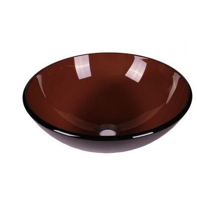 Tempered Glass Circular Vessel Bathroom Sink Sink Finish: Smoked Brown