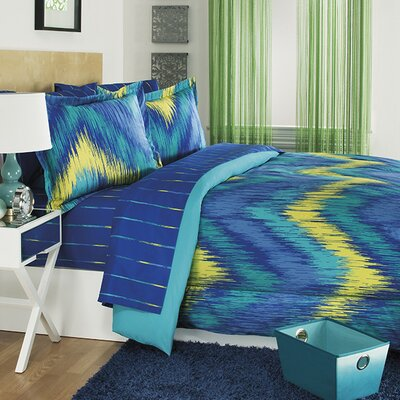 Chevron Tie Dye 3 Piece Comforter Set Size: Twin