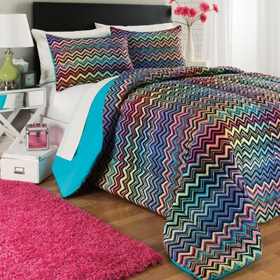 Chevron Rainbow 3 Piece Comforter Set Size: Twin