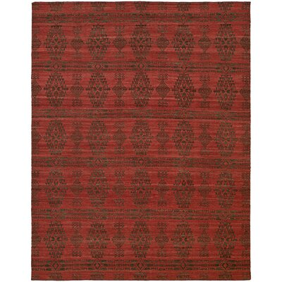 Libbey Handmade Charcoal/Red Area Rug Rug Size: 5 x 8