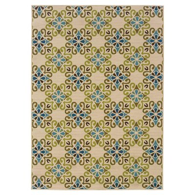 Newfield Ivory/Blue Indoor/Outdoor Area Rug Rug Size: Rectangle 53 x 76