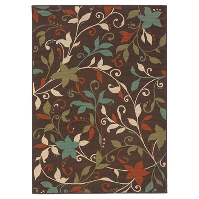 Newfield Brown/Green Indoor/Outdoor Area Rug Rug Size: 37 x 56