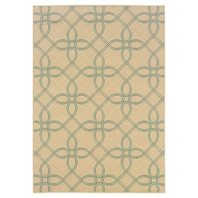 Newfield Ivory/Blue Indoor/Outdoor Area Rug Rug Size: 53 x 76