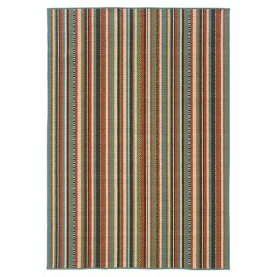 Brendel Hand-woven Green/Blue Indoor/Outdoor Area Rug Rug Size: Rectangle 37 x 56