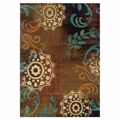 Bienville Brown/Blue Area Rug Rug Size: 67 x 96