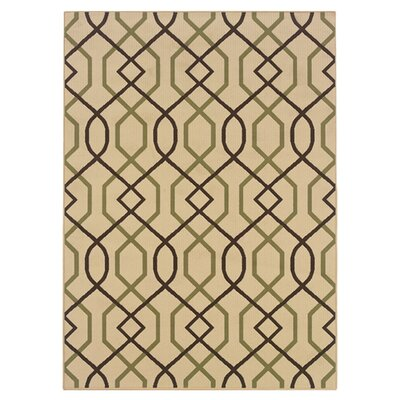Newfield Ivory/Brown Indoor/Outdoor Area Rug Rug Size: Rectangle 53 x 76