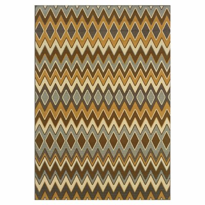 Milltown Grey/Gold Indoor/Outdoor Area Rug Rug Size: 25 x 45