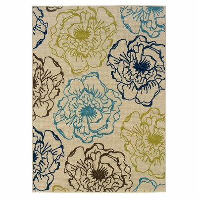 Newfield Ivory/Blue Indoor/Outdoor Area Rug Rug Size: 37 x 56