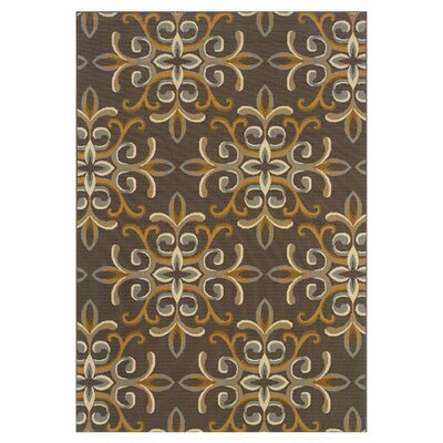 Milltown Grey/Gold Indoor/Outdoor Area Rug Rug Size: 37 x 56