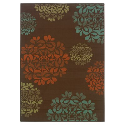 Newfield Hand-Woven Brown/Blue Indoor/Outdoor Area Rug Rug Size: Rectangle 67 x 96