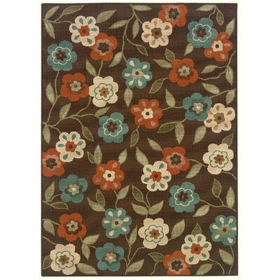 Newfield Brown/Ivory Indoor/Outdoor Area Rug Rug Size: 53 x 76