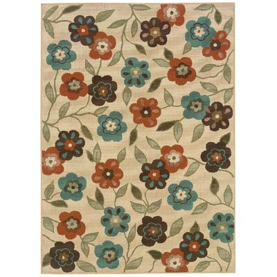 Newfield Ivory/Brown Indoor/Outdoor Area Rug Rug Size: 37 x 56