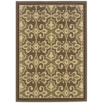 Newfield Green/Ivory Indoor/Outdoor Area Rug Rug Size: Rectangle 37 x 56