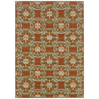 Newfield Orange/Ivory Indoor/Outdoor Area Rug Rug Size: Rectangle 37 x 56