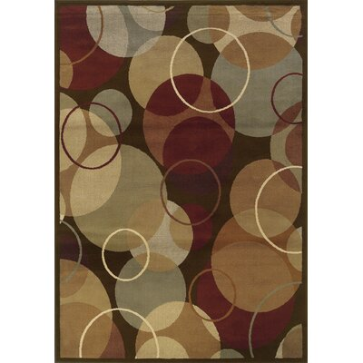 Harper Brown/Gold Area Rug Rug Size: 53 x 73