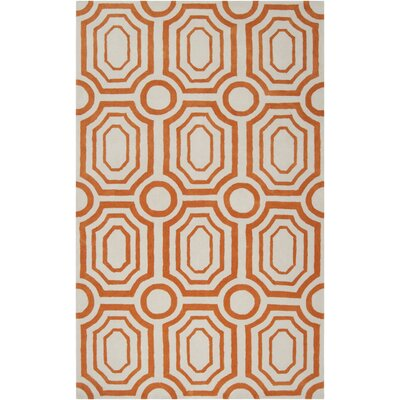 Dryden Hand-Woven Orange Area Rug Rug Size: Rectangle 33 x 53