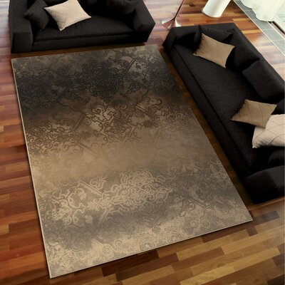 Faded Metal Pewter Area Rug Rug Size: 53 x 76