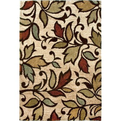 Vine Getty Bisque Beige/Brown Area Rug Rug Size: 53 x 76