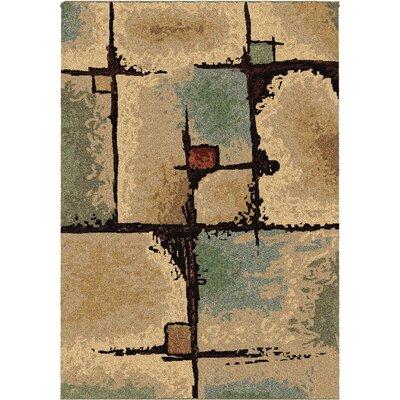 Jacci Jada Beige/Blue Area Rug Rug Size: 53 x 76
