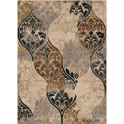 Classic Ikat Ivory Area Rug Rug Size: 53 x 76