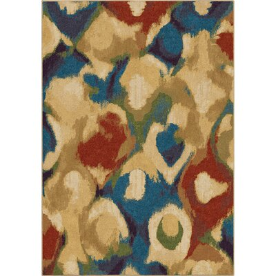 Broken Glass Abstract Beige/Blue Area Rug Rug Size: 53 x 76