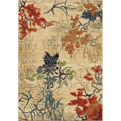 Abstract Forrest Beige Area Rug Rug Size: 53 x 76