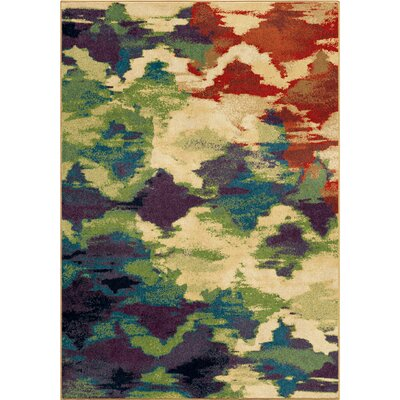 Splash of Color Beige/Purple Area Rug Rug Size: 53 x 76