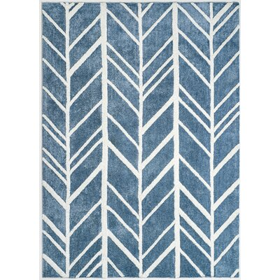 Indian Hand-Tufted Blue/Ivory Area Rug Rug Size: 5' x 7'