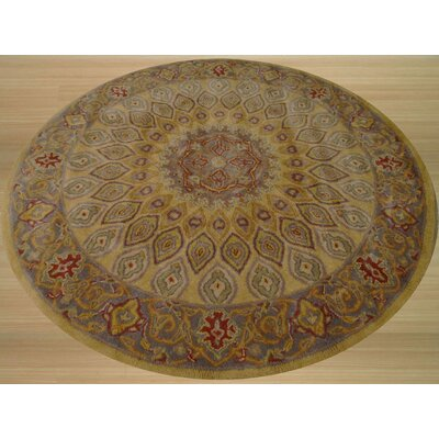 Kernville Hand-Woven Gold Area Rug Rug Size: Round 6