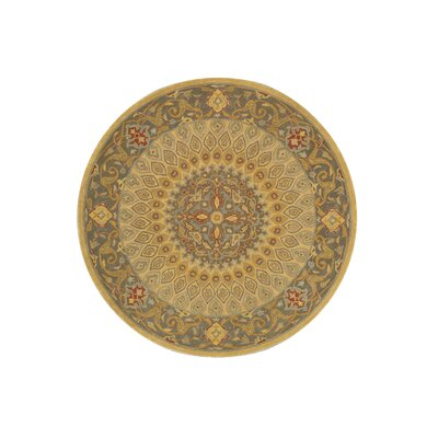 Kernville Hand-Woven Gold Area Rug Rug Size: Round 8