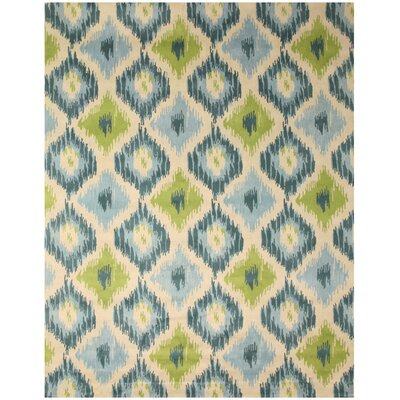 Woods Hand-Woven Blue/Green Area Rug Rug Size: 4 x 6