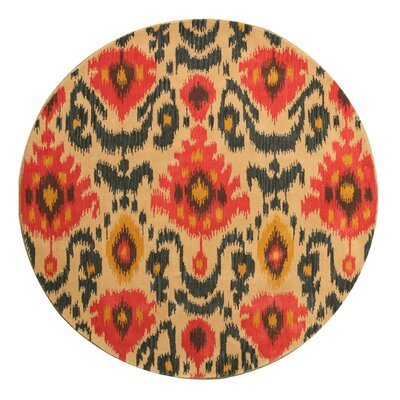 Lakewood Hand-Tufted Ivory/Red Area Rug Rug Size: Round 6