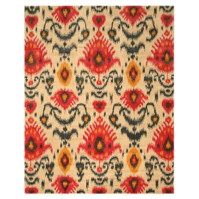 Lakewood Hand-Tufted Ivory/Red Area Rug Rug Size: 89 x 119
