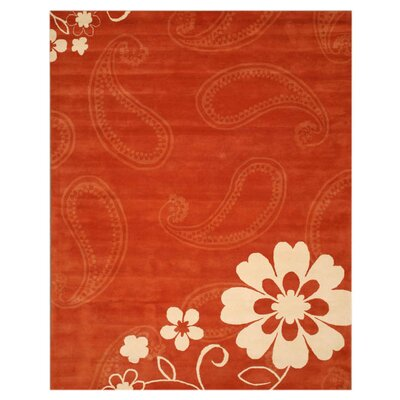 Latham Hand-Tufted Rust Area Rug Rug Size: 89 x 119