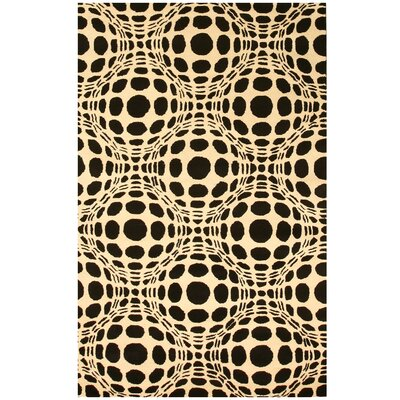 Laurel Hand-Tufted Black/Ivory Area Rug Rug Size: 79 x 99