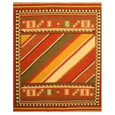 Laurelwood Hand-Woven Red Area Rug Rug Size: 5 x 8