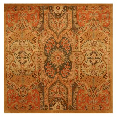 Leaburg Hand-Woven Gold Area Rug Rug Size: Square 6