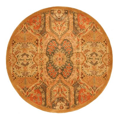 Leaburg Hand-Woven Gold Area Rug Rug Size: Round 6