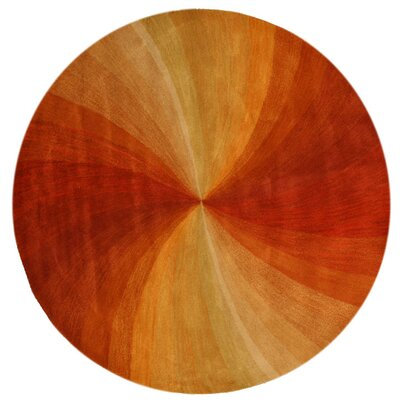 Lenz Red/Orange Area Rug Rug Size: Round 6