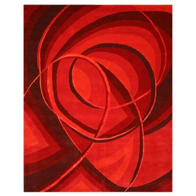 Lukarilla Hand-Tufted Red Area Rug Rug Size: 5 x 8