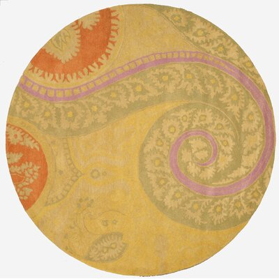Lunnville Hand-Tufted Gold Area Rug Rug Size: Round 79