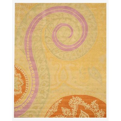 Lunnville Hand-Tufted Gold Area Rug Rug Size: 89 x 119