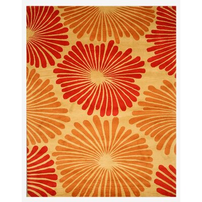 La Pine Hand-Tufted Red/Orange Area Rug Rug Size: 96 x 136