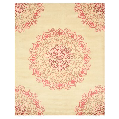 Hand-Woven Ivory/Red Area Rug Rug Size: Rectangle 79 x 99