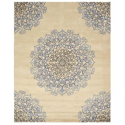 Marion Hand-Woven Ivory/Blue Area Rug Rug Size: 5 x 8