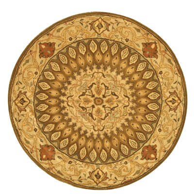 Hand-Tufted Brown Area Rug Rug Size: Round 6