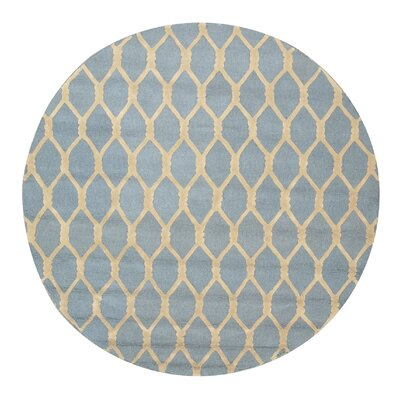 Hand-Tufted Blue Area Rug Rug Size: Round 6