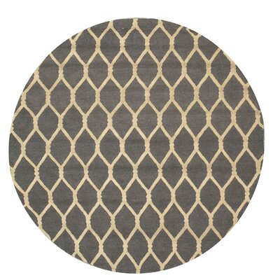 Hand-Tufted Charcoal Area Rug Rug Size: Round 4